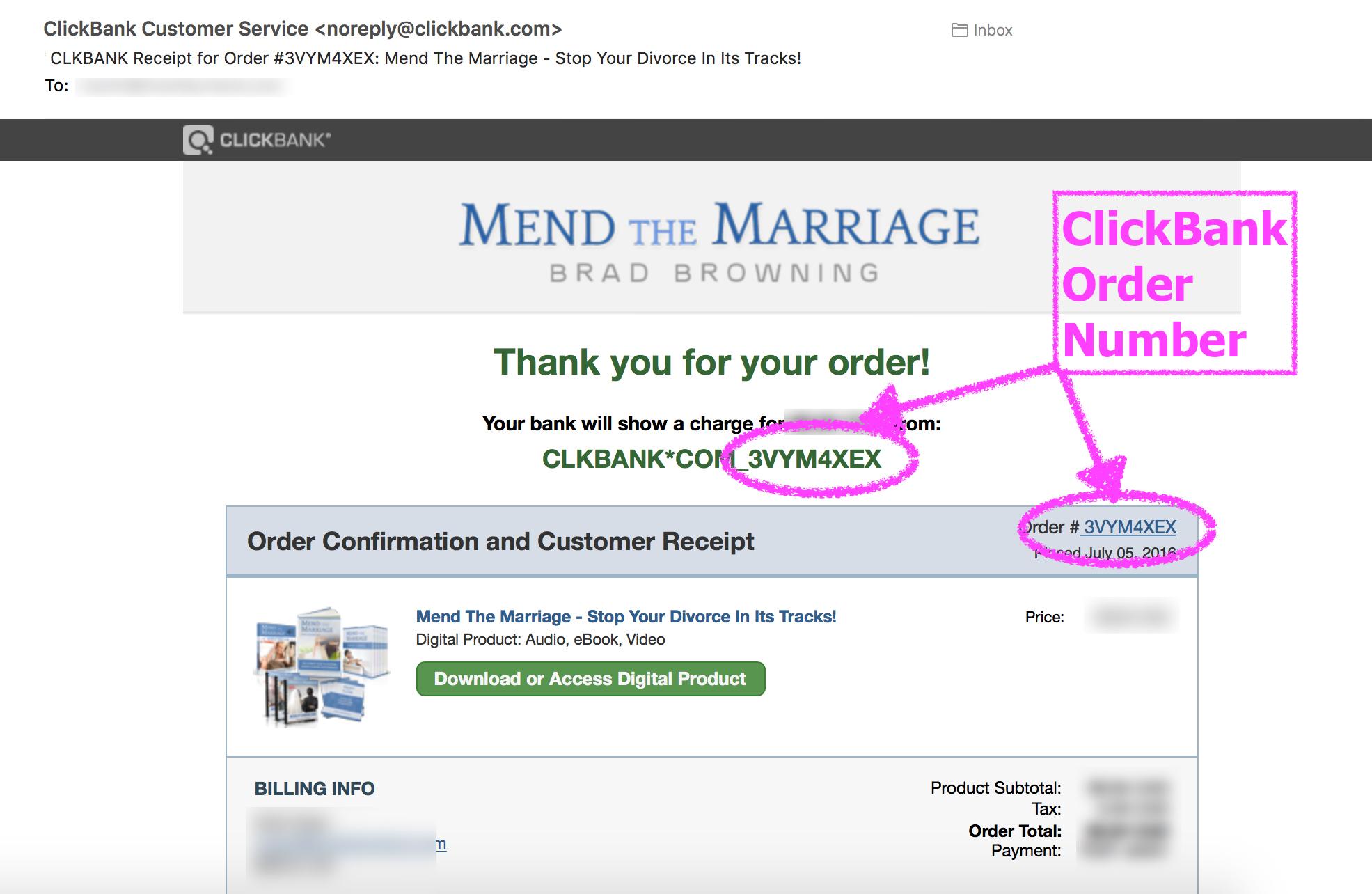 order number screenshot